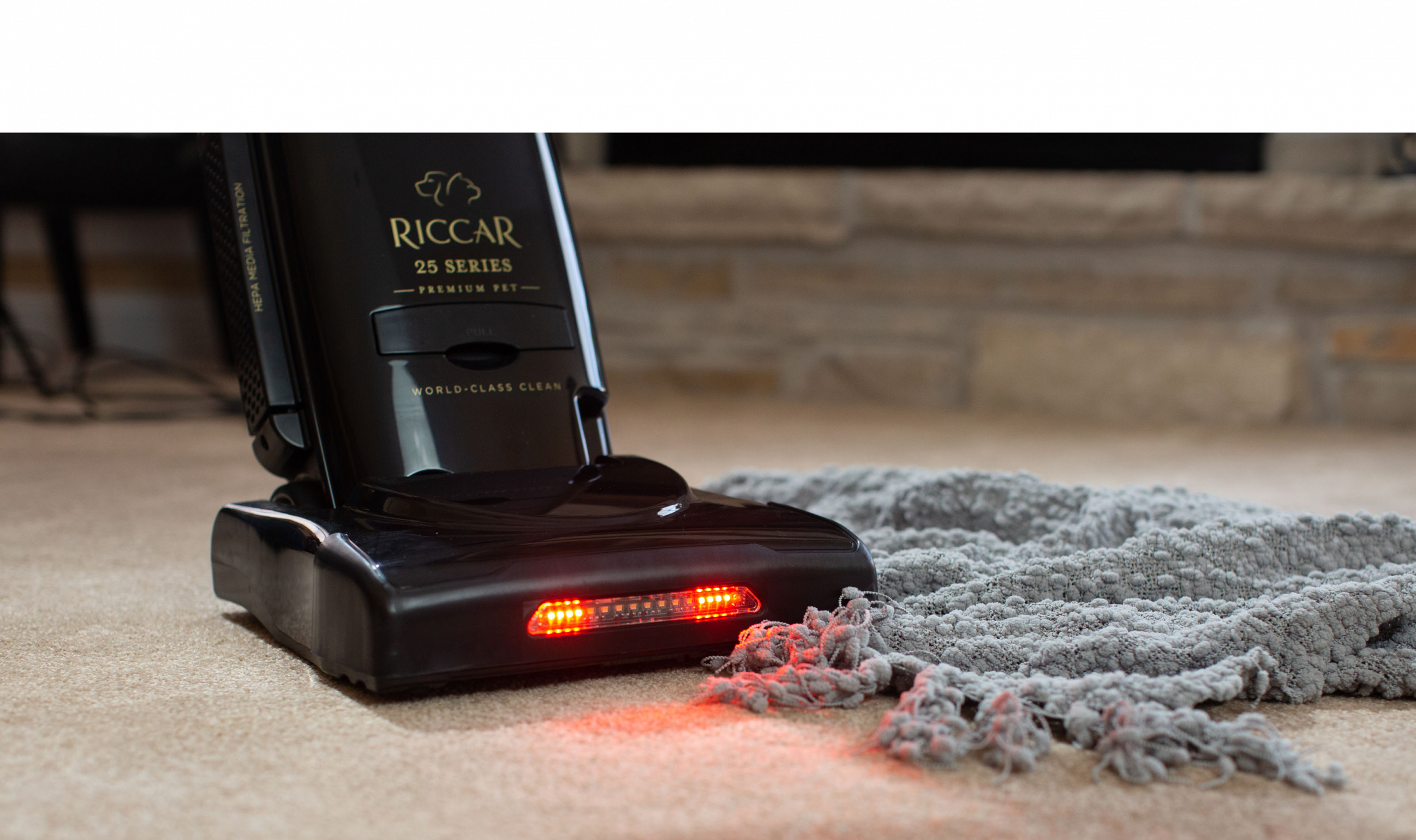 Riccar vacuum senses jam and shuts off the brushroll to protect the lifetime belt