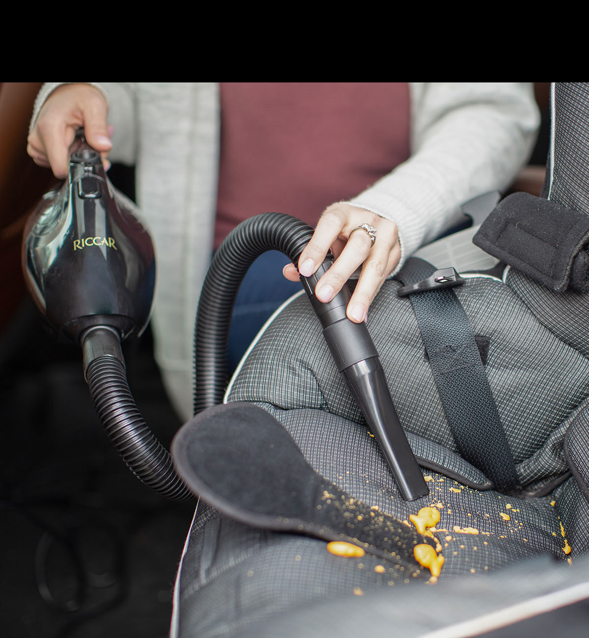 Gem is perfect for cleaning car seats and for keeping in the car during road trips